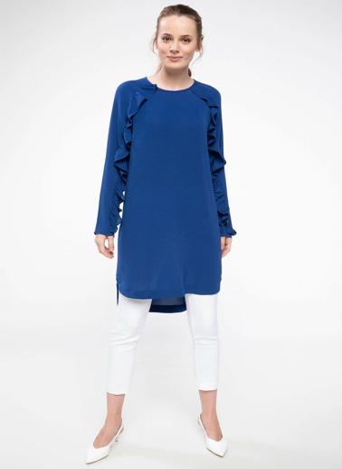 DeFacto Fırfırlı Uzun Tunik Mavi